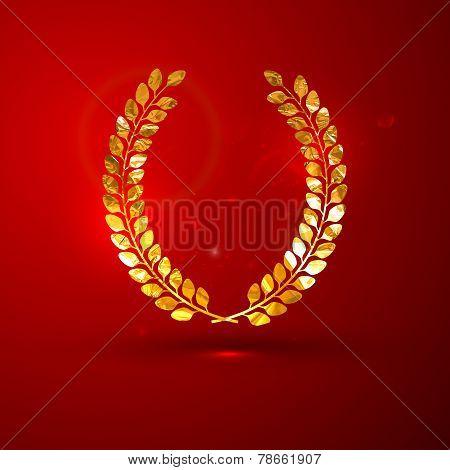 vector illustration of a golden metallic foil laurel wreath on t