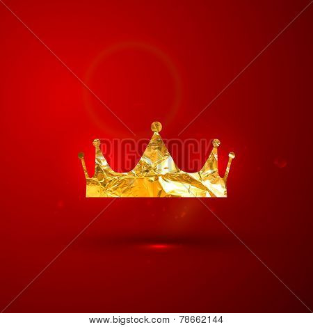 vector illustration of a golden metallic foil royal crown on the