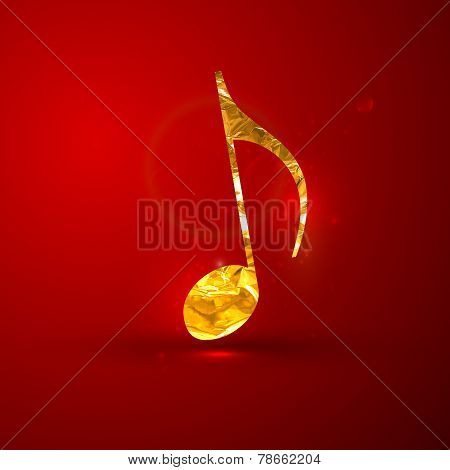 vector illustration of a golden metallic foil music note on the