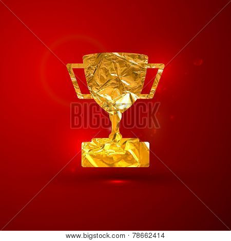 vector illustration of a golden metallic foil champions cup on the red vivid background with sparkle