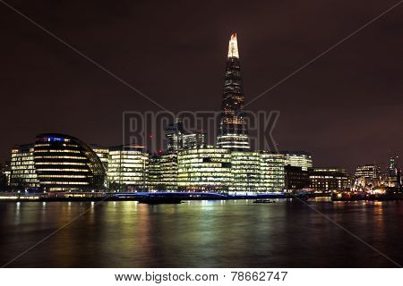 City scenic from London with the Thames and the Shard