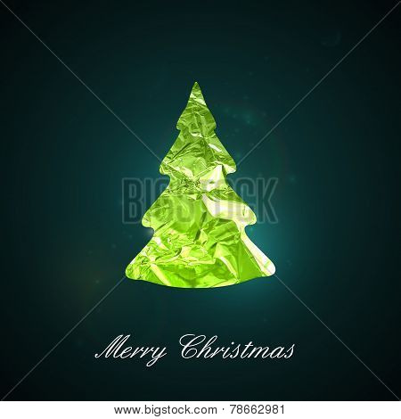 Holiday vector illustration of a green metallic foil Christmas t