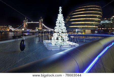 View Of Tower Bridge And City Hall At Christmas