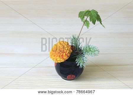 Ikebana With Orange Flower, Branches Of Blue Spruce And Shrubs In The Blue-red Cup