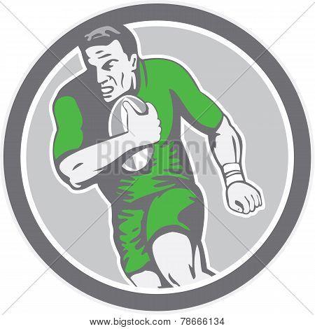 Rugby Player Running Ball Circle Retro