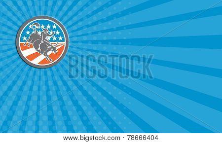 Business Card Rodeo Cowboy Bull Riding Flag Circle Retro