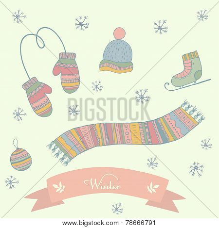 Winter clothes set scarf, mittens, hat, ice skates