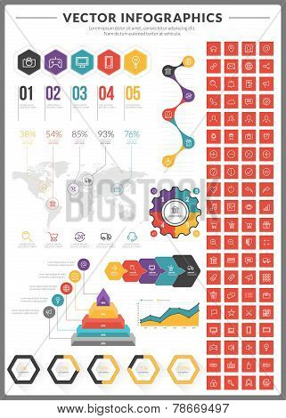 Big Pack Of Data Visualization Vector Infographics And Design Elements