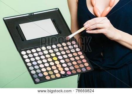 Woman Holds Makeup Professional Palette And Brush