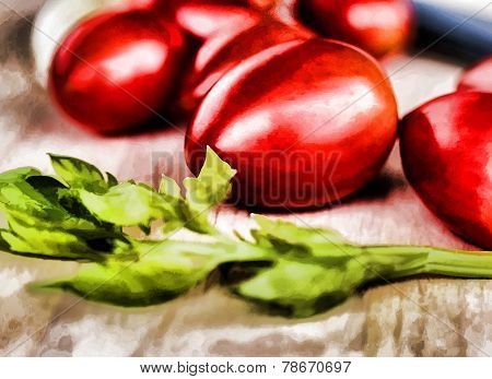 Fresh Tomatoes Represents Food Preparation And Cooked