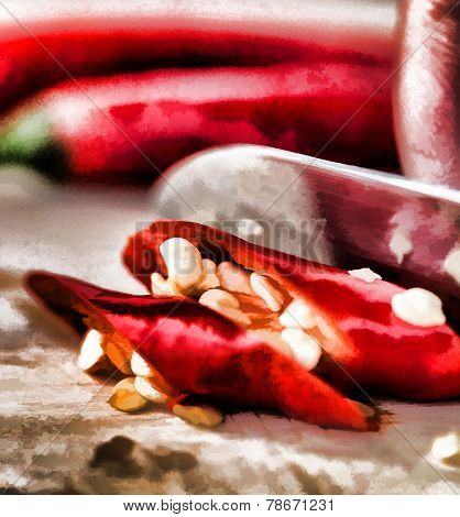 Chopping Chilli Peppers Means Hot Chilly And Spices