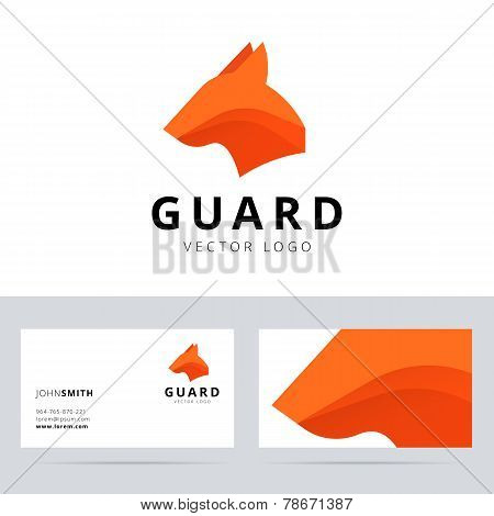 Guard logo template with dog head sign.