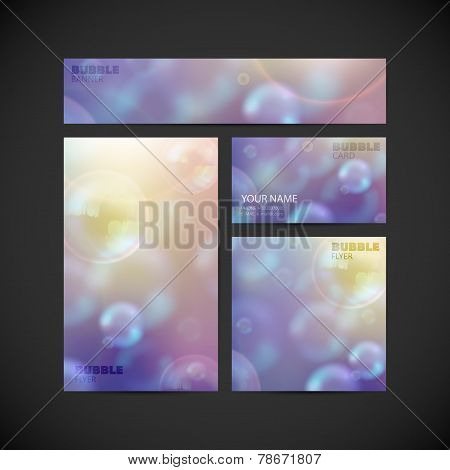 set of vector visual corporate identity with flying soap bubbles