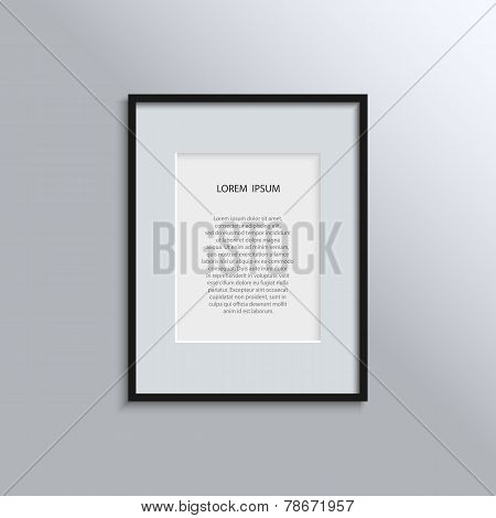 blank modern A4 black frame on a white wall