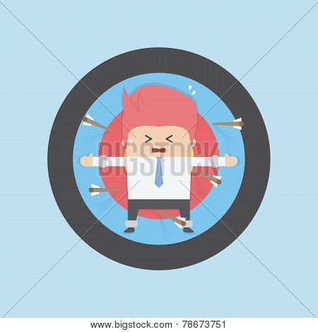 Businessman On Archery Targets, Risk Concept