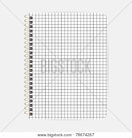 Opened notepad notebook sheet in a cage