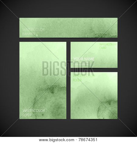 set of vector visual corporate identity with green paint watercolor