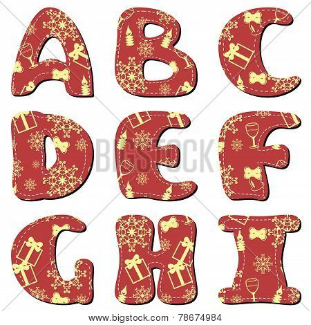 Scrapbook red Christmas alphabet A-I on white