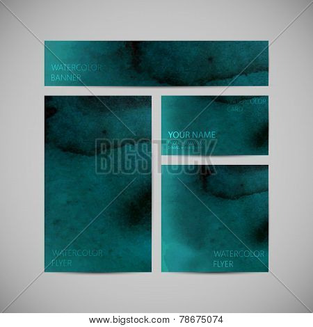 et of vector visual corporate identity with dark green paint watercolor splash