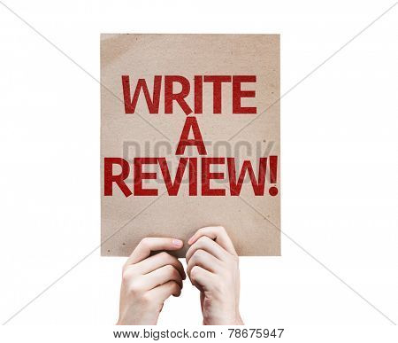Write a Review card isolated on white background