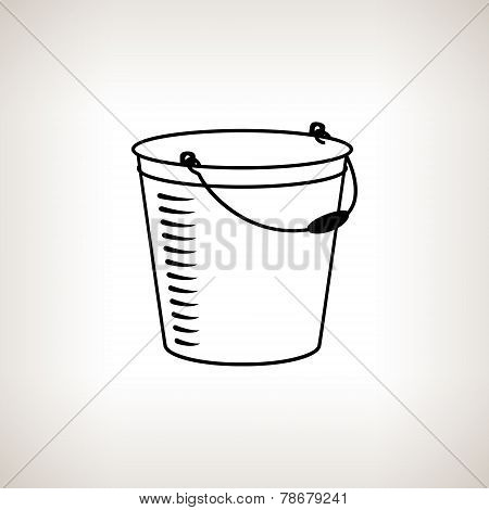 Silhouette Bucket On A Light Background, Vector Illustration