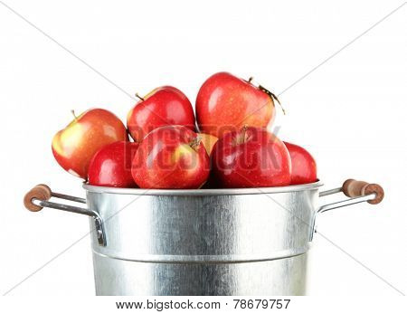 Pail filled with red apples isolated on white background