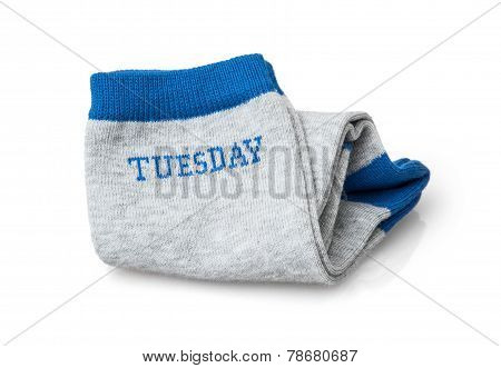 Isolated Trendy Wool Socks With Inscription Tuesday