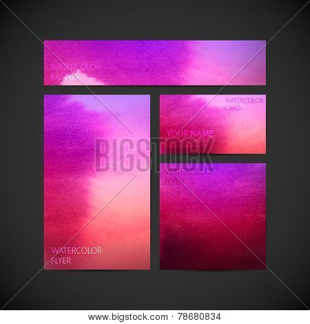 set of vector visual corporate identity with violet paint watercolor
