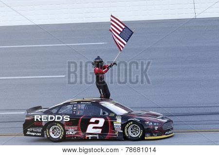 Talladega, AL - Oct 19, 2014:  Brad Keselowski (2) wins the GEICO 500 at Talladega Superspeedway in Talladega, AL.