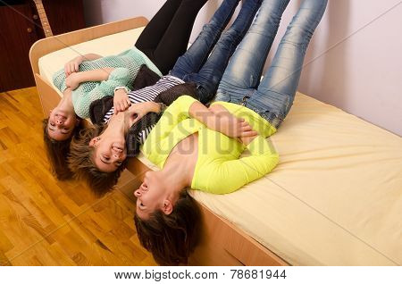 Teenagers having fun at home