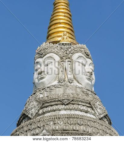 Brahma Faces On Top Of The Chedi, Thailand