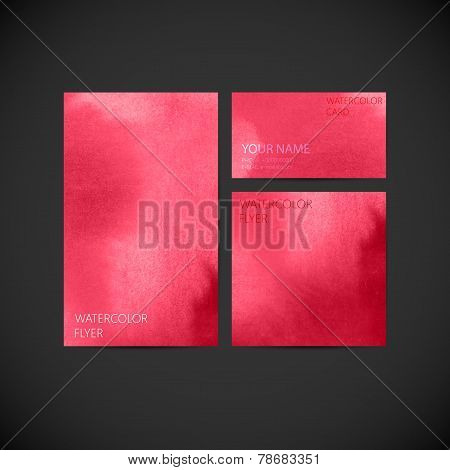 set of vector visual corporate identity with pink paint watercolor