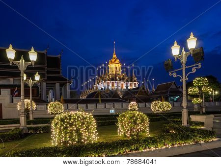 Loha Prasat (metal Castle) Illuminated At Twilight, Thailand