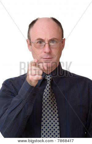 Business-Mann zeigt seinem Zeigefinger in Richtung der Kamera