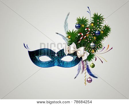 theatrical mask with christmas decorated branch