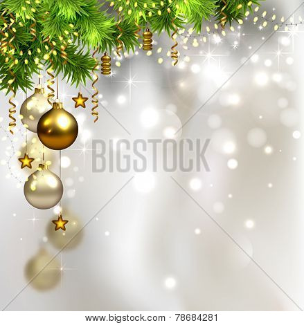glimmered Christmas background with evening balls and garland