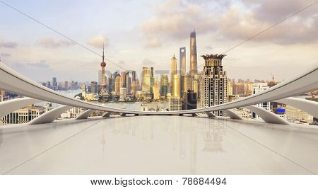 futuristic business perspective and cityscape during daytime