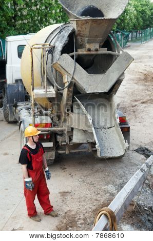 Construction Builder And Concrete Mixer