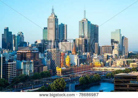 Melbourne Skyline  Towards Flinders St