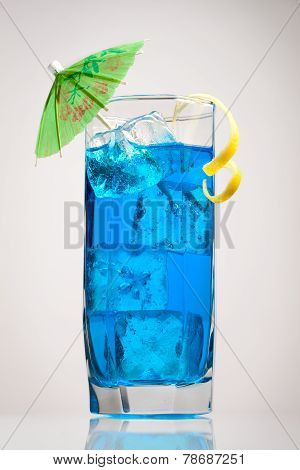 Blue Curacao Cocktail With Decoration