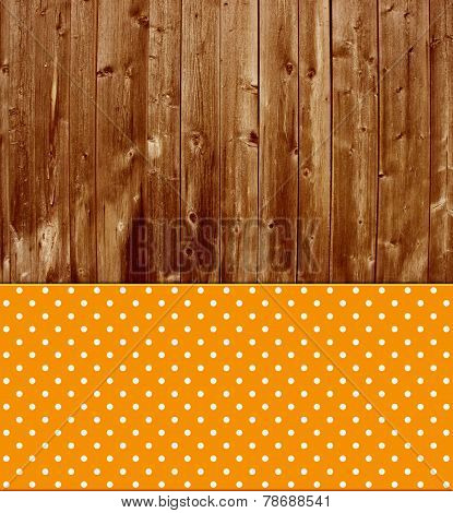 Old wooden background with tablecloth orange white