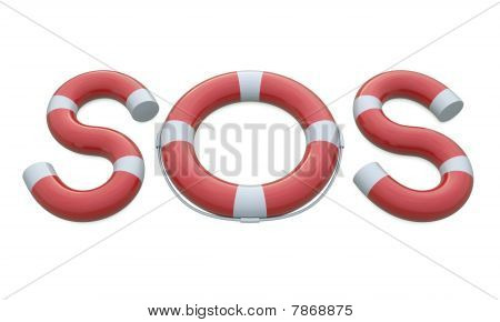 SOS life belt and letters