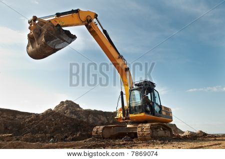 Excavator Loader In Construction Sandpit Area
