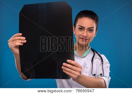 woman doctor in white smock