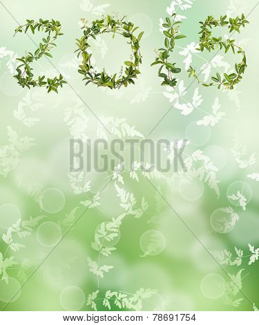 Green Bokeh From Nature With Leaf