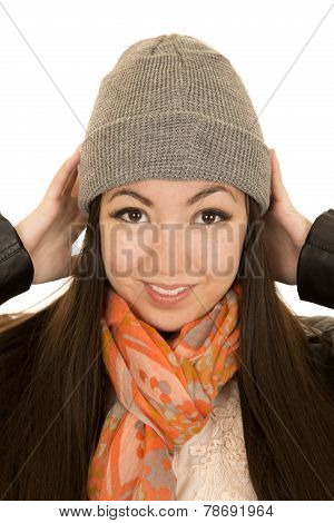 Cute Teen Female Model Adjusting Her Winter Beanie