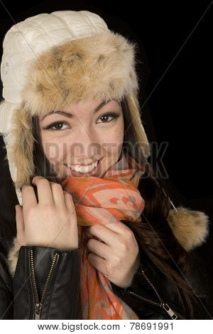 Asian Caucasian Teen Snuggling Her Scarf And Winter Hat