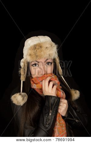 Timid Expression Of Asian American Teen Girl Cold Weather Clothes