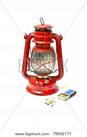 Kerosene Lamp And Matches