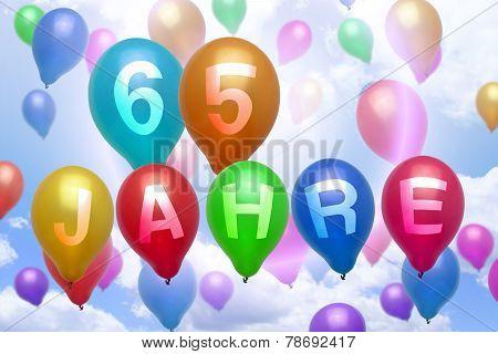 German 65 Years Balloon Colorful Balloons